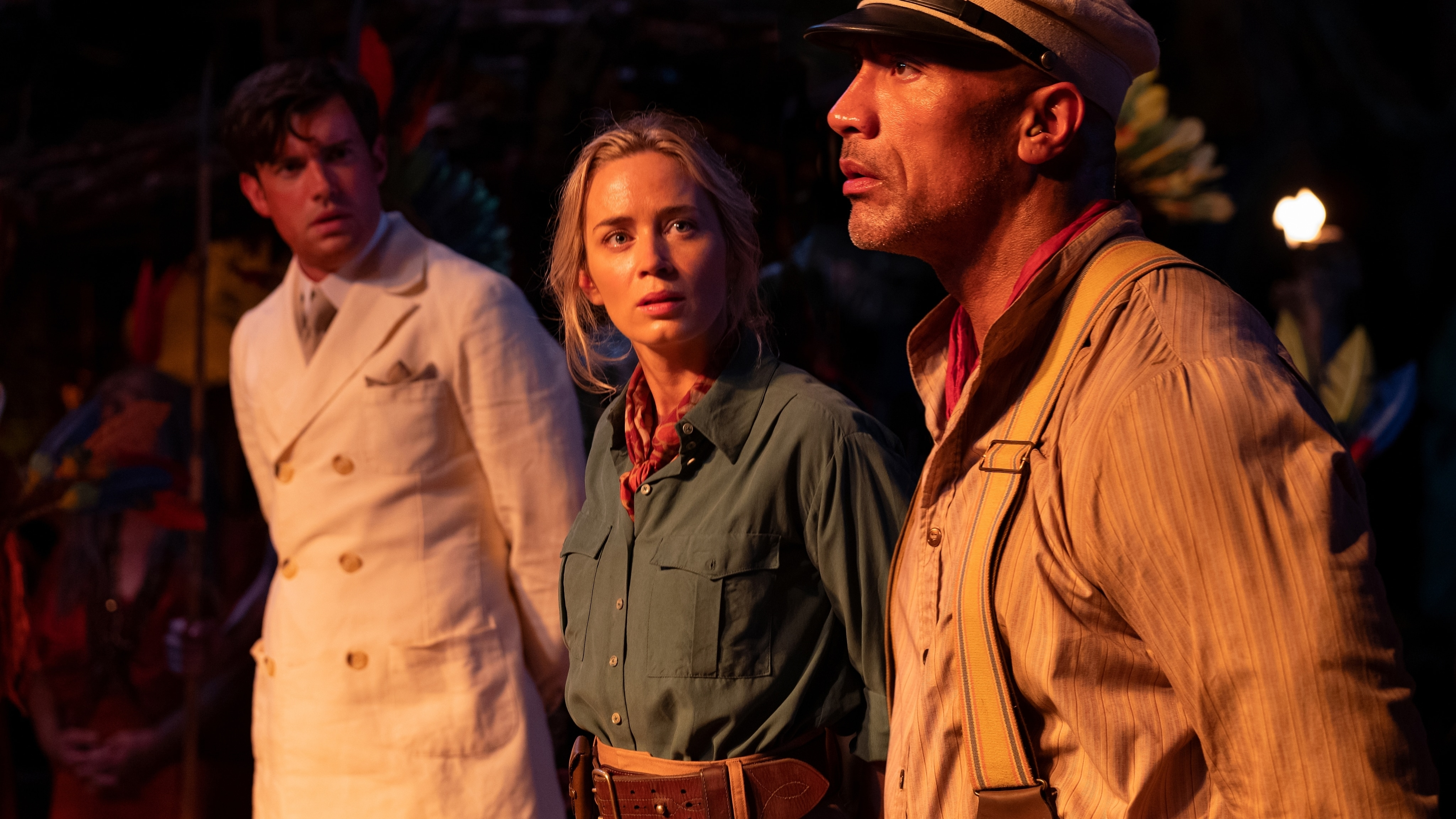 (L-R): Jack Whitehall as Macgregor, Emily Blunt as Lily and Dwayne Johnson as Frank IN Disney's JUNGLE CRUISE. Photo by Frank Masi. © 2021 Disney Enterprises, Inc. All Rights Reserved.
