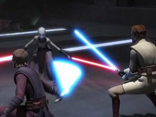 Asajj Duels Anakin and Obi-Wan