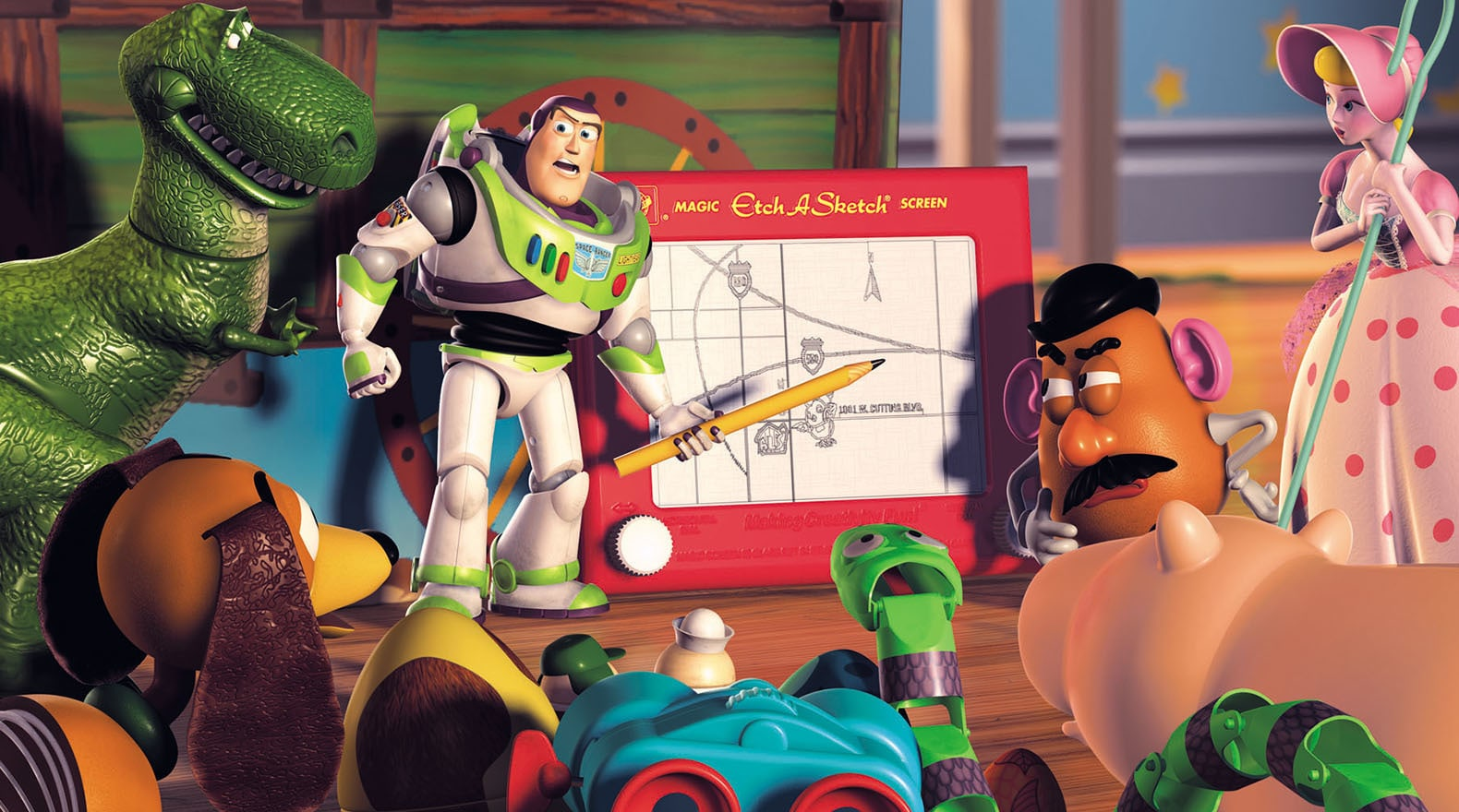 The toys go over a plan to rescue Woody.