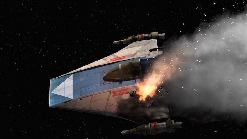 An A-Wing critically damaged during combat