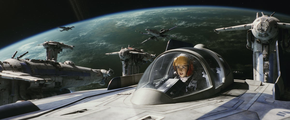 Tallie Lintra piloting an A-Wing starfighter during the evacuation of D'Qar