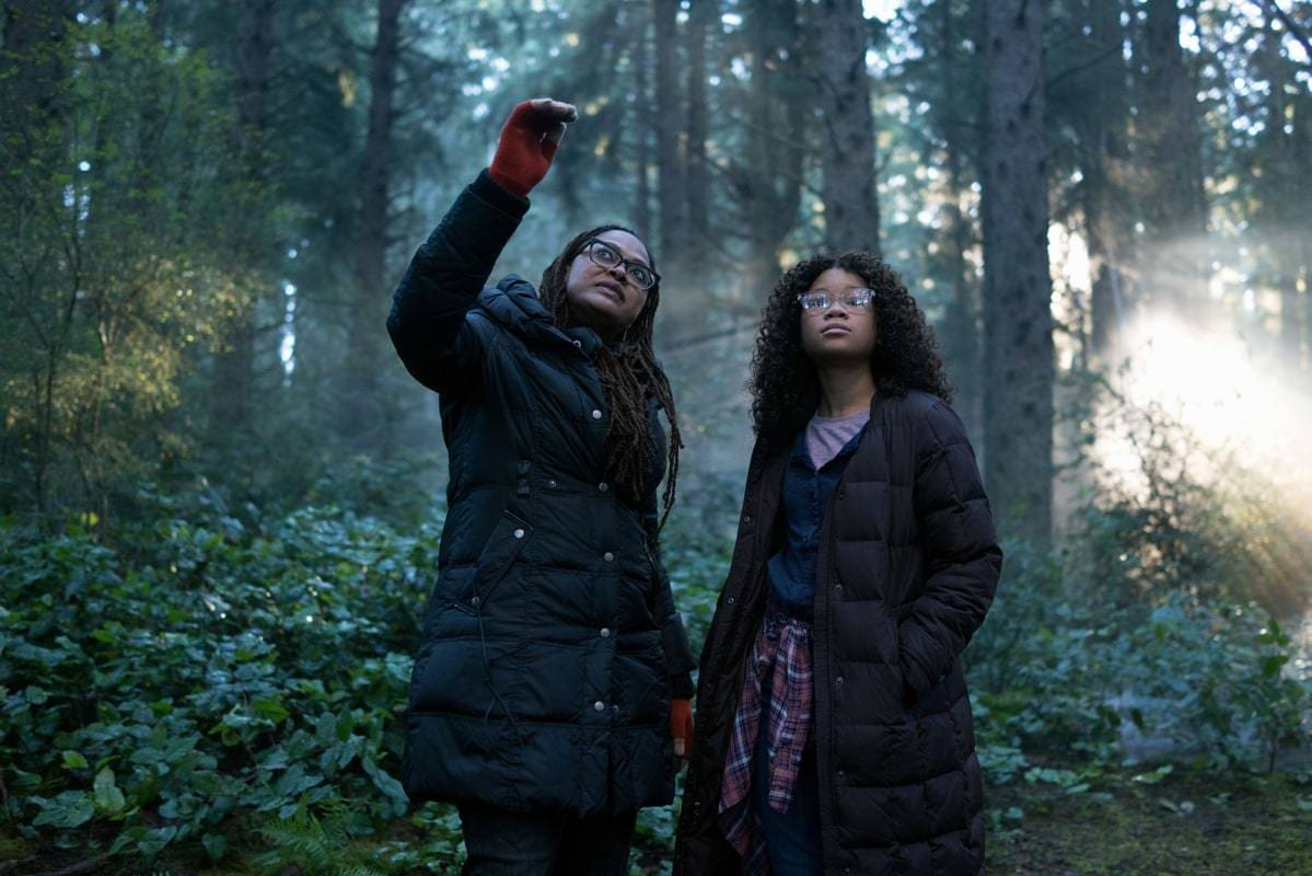 """Ava DuVernay and Storm Reid during filming of the movie """"A Wrinkle in Time"""""""