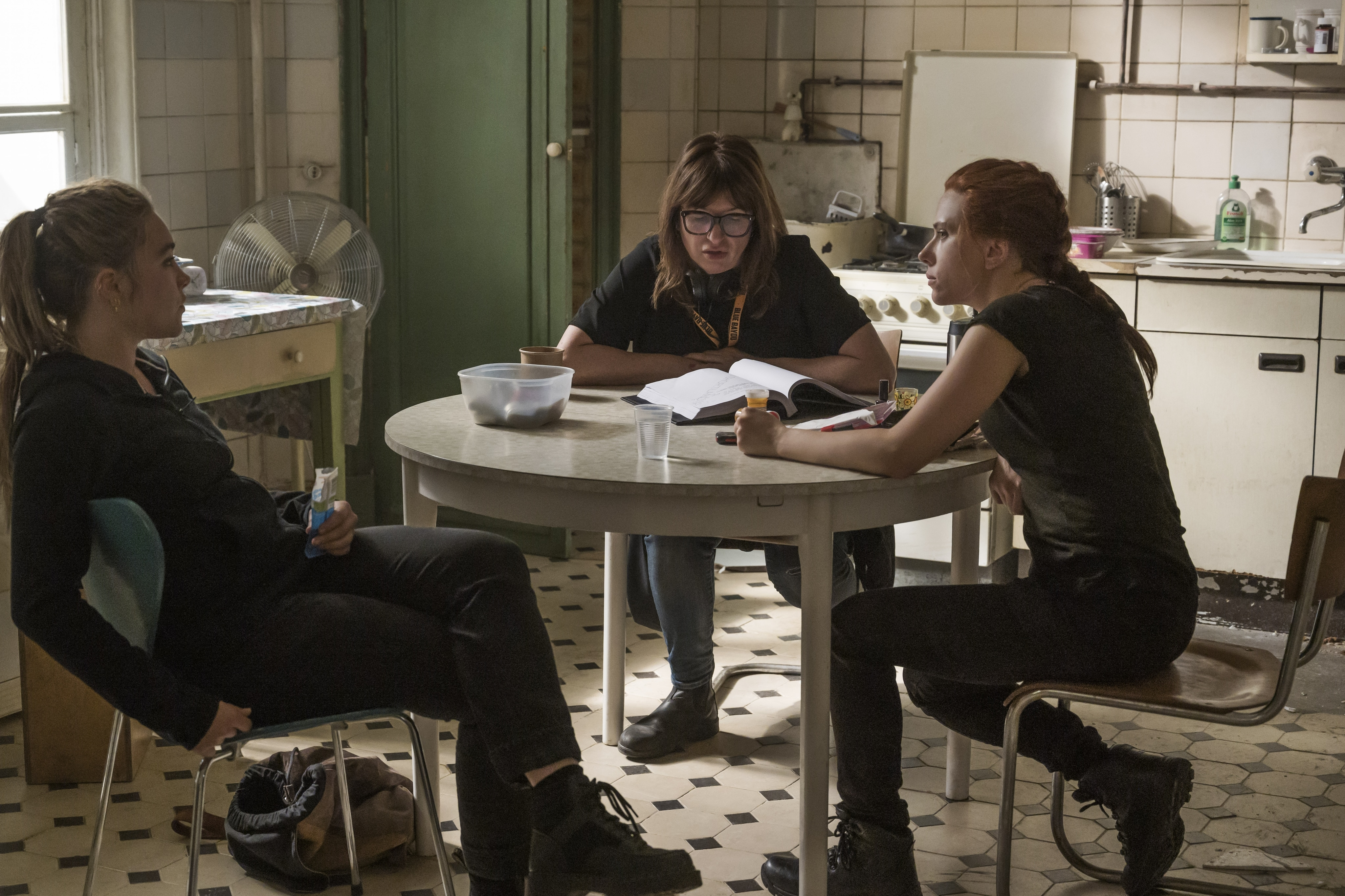 Scarlett Johansson and Florence Pugh Behind-the-Scenes of Black Widow with Director