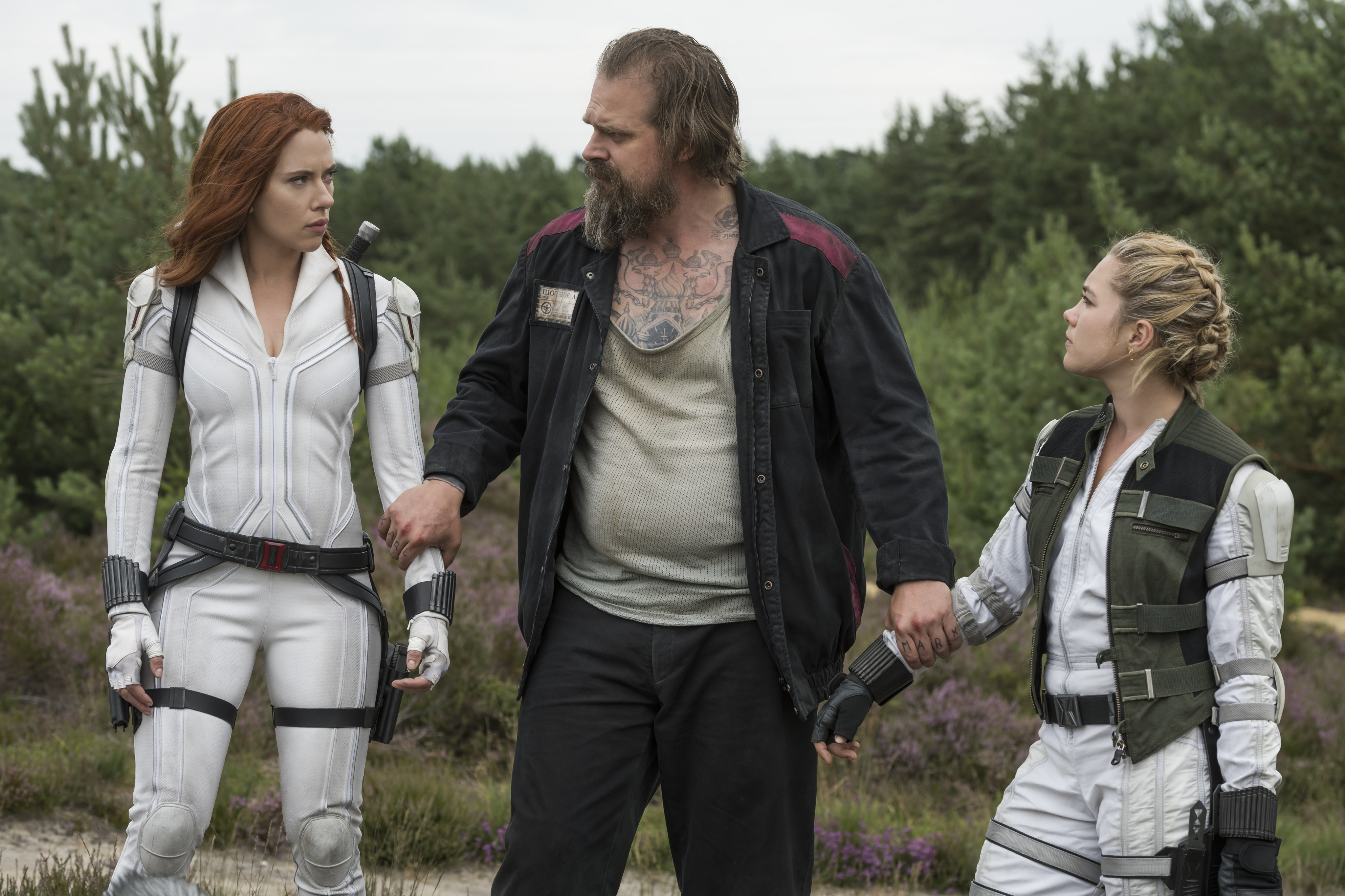 David Harbour, Scarlett Johansson, and Florence Pugh Behind-the-Scenes of Black Widow