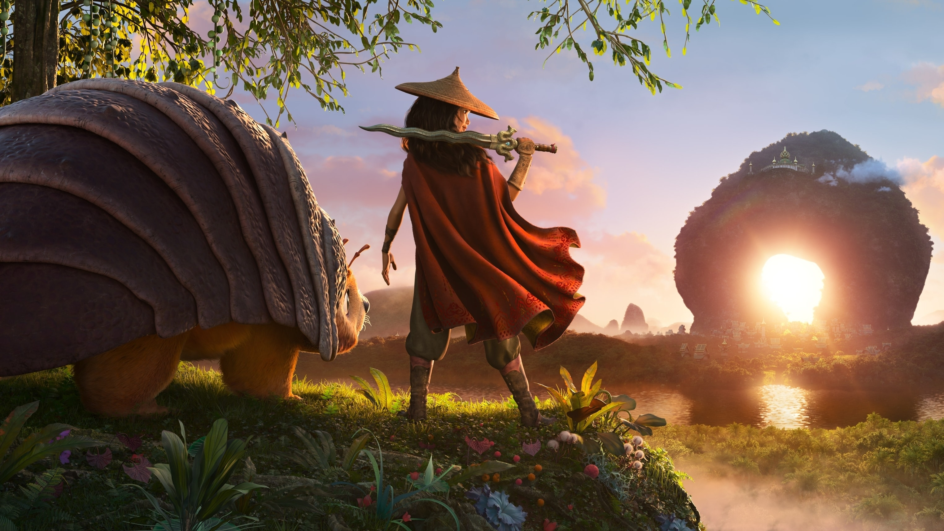 As an evil force threatens the kingdom of Kumandra, it is up to warrior Raya, and her trusty steed Tuk Tuk, to leave their Heart Lands home and track down the last dragon to help stop the villainous Druun. © 2020 Disney. All Rights Reserved.