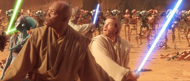 Aayla Secura, Mace Windu, and Obi-Wan Kenobi seemingly defeated on Geonosis