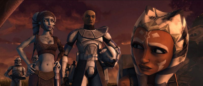 Aayla Secura, Clone Commander Bly, and Ahsoka Tano on Maridun