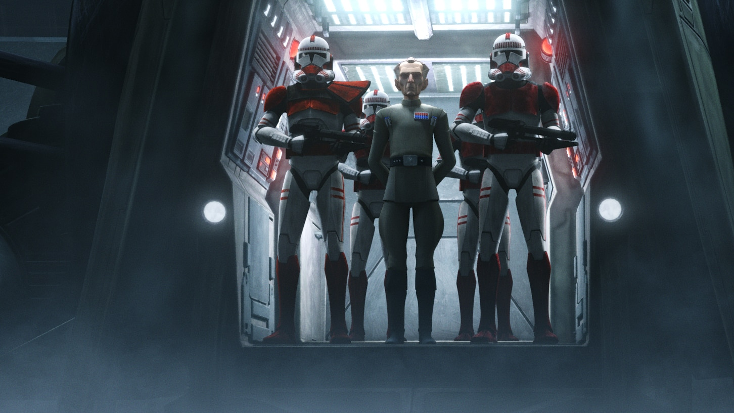 """Admiral Tarkin in a scene from """"STAR WARS: THE BAD BATCH"""", exclusively on Disney+. © 2021 Lucasfilm Ltd. & ™. All Rights Reserved."""