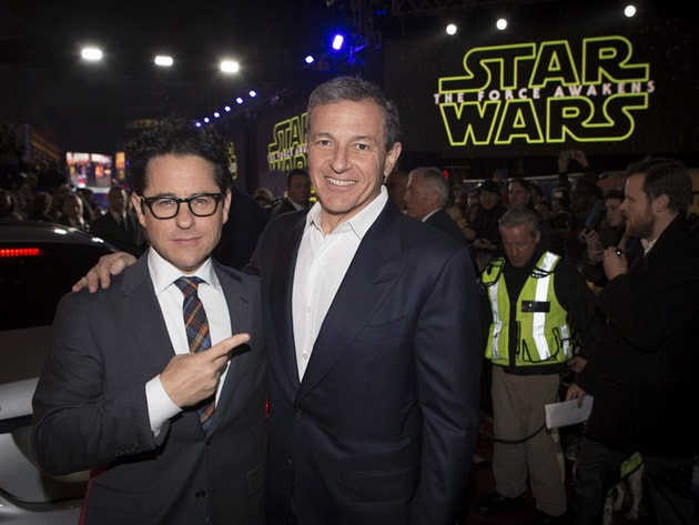 Film director J.J. Abrams poses with chairman and chief executive of The Walt Disney Company, Bob...