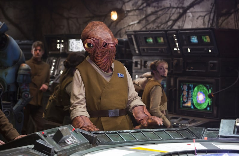 Grand Admiral Ackbar in the Resistance base on D'Qar