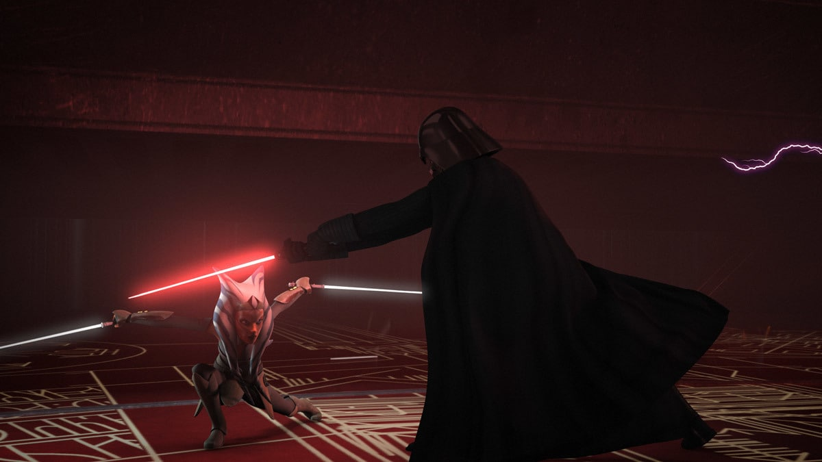 Ahsoka duelling Darth Vader on Malachor