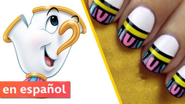 Uñas con diseño de La Bella y La Bestia - Disney Aja