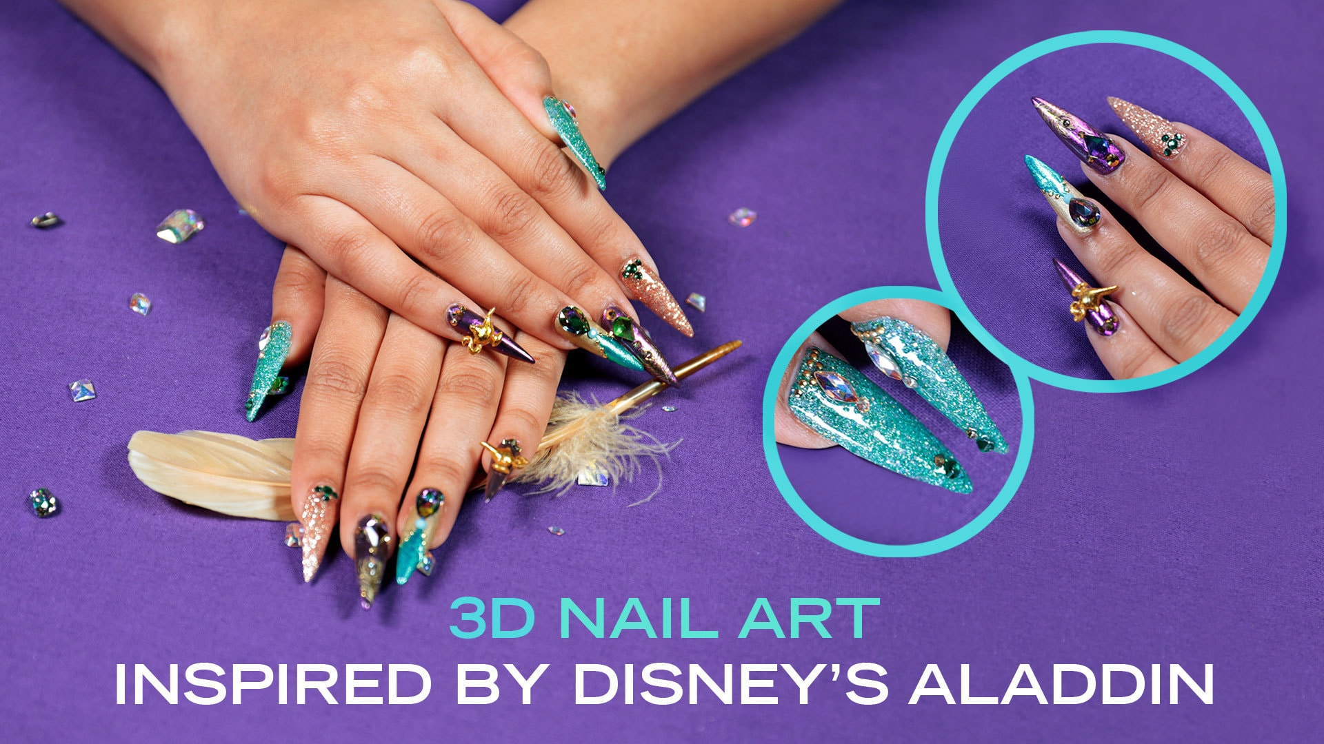 These Beautiful Jewel And Feather Nails Inspired By Disney's Aladdin Are Fit For A Princess