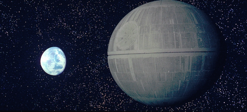 The Death Star preparing to destroy Alderaan