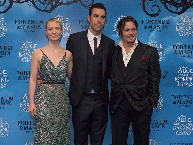 Mia Wasikowska, Sacha Baron Cohen and Johnny Depp