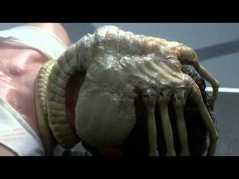 Image of a woman with an alien where her head should be, from the movie Alien
