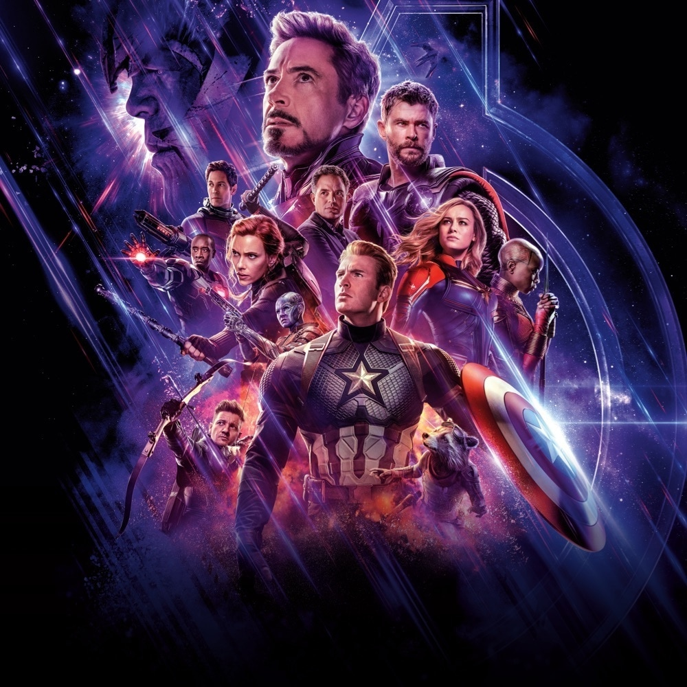 Avengers: Endgame characters including Iron Man, Thor, Captain America and Captain Marvel in space