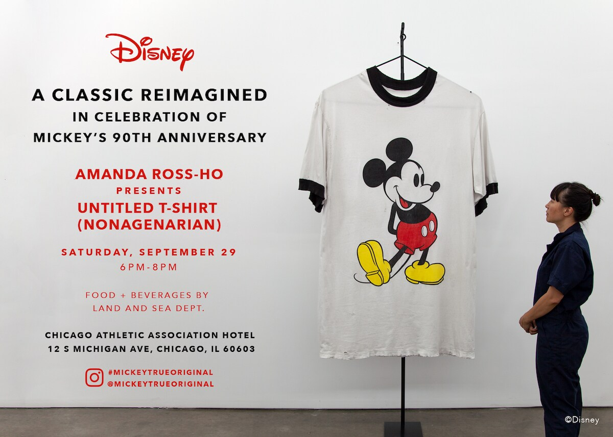 Disney A Classic Reimagined in celebration of Mickey's 90th anniversary; Amanda Ross-Ho presents untitled T-Shirt (nonagenarian)Saturday September 29 6 pm-8pm Food + Beberagesby Land and Sea Dept. Chicago athletic association hotel 12.5 Michigan ave. Chicago, IL 60603 Instagram: #mickeytrueoriginal @mickeytrueoriginal ; image of Amanda Ross-Ho looking at Mickey large Mickey T-Shirt