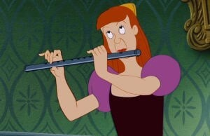"Anastasia playing the flute in purple dress in the animated movie ""Cinderella"""