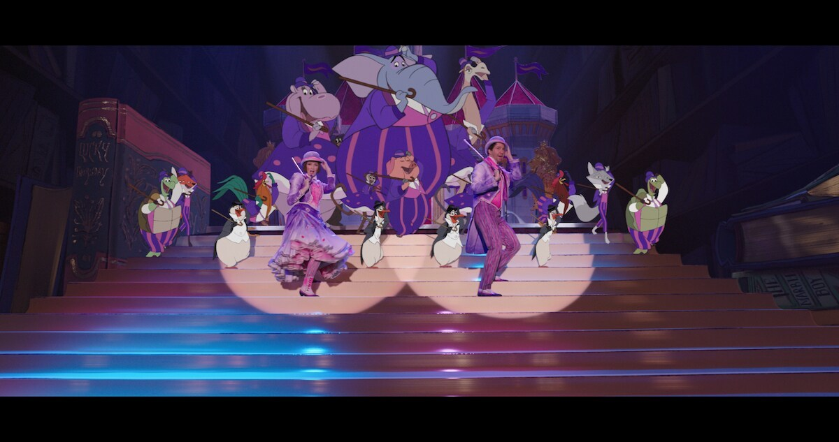 Mary Poppins and Jack dance with penguins and other animated animals on a staircase in pink and purple outfits