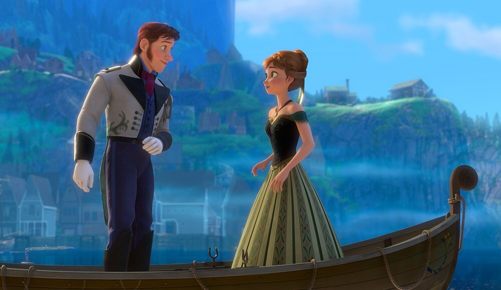 "Animated characters Hans and Anna on a boat from the film ""Frozen"""