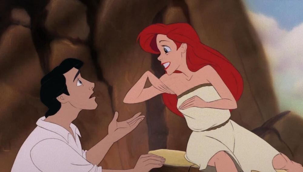"Animated characters Prince Eric and Ariel from the film ""The Little Mermaid"""