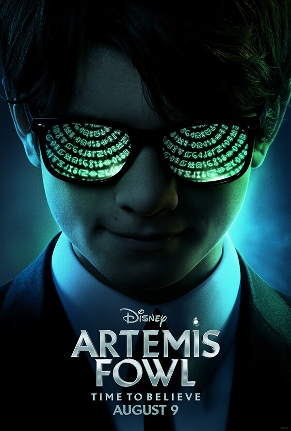 Disney Artemis Fowl; time to velieve august 9 poster or Artemis Fowl with glowing green runes reflected in his glasses