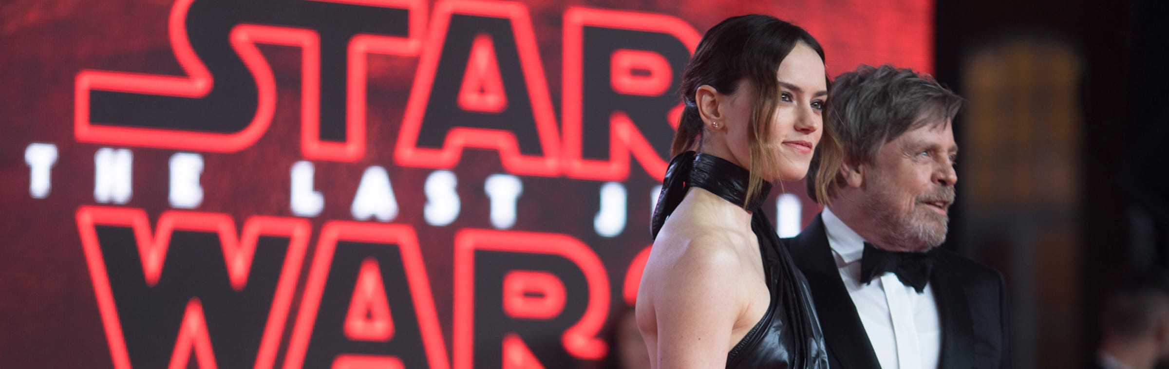 Close-up of Daisy Ridley and Mark Hamill on the red carpet at the Star: Wars The Last Jedi premiere