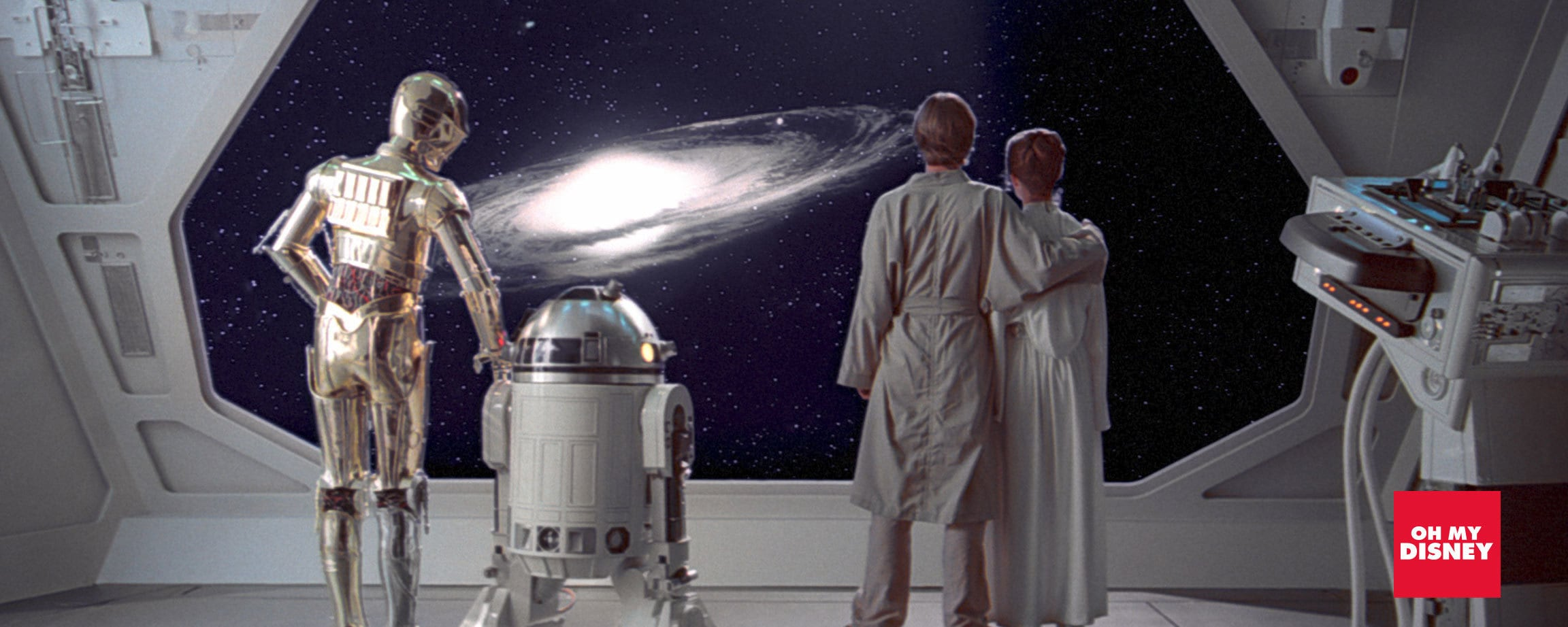C-3PO, R2-D2, Luke Skywalker and Princess Leia Organa in 'Star Wars: The Empire Strikes Back'