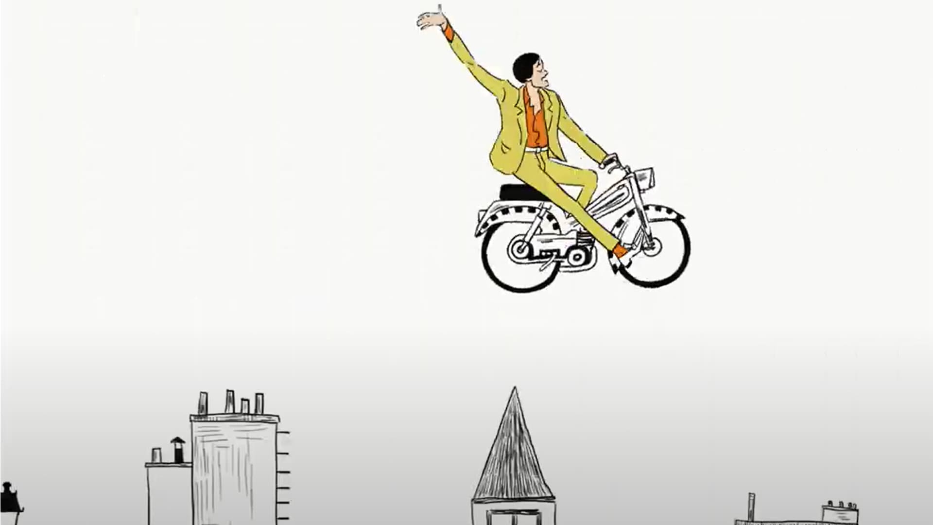 An illustrated Jarvis Cocker rides a bike in the sky for the music video Aline from the soundtrack of The French Dispatch