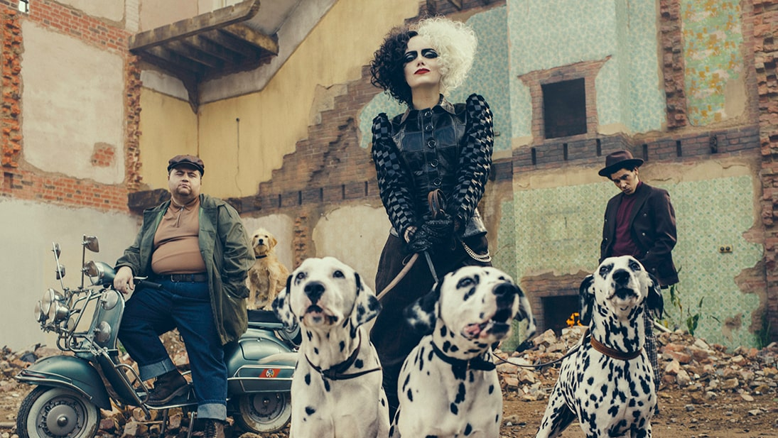 A still image from Disney's Cruella featuring Emma Stone.