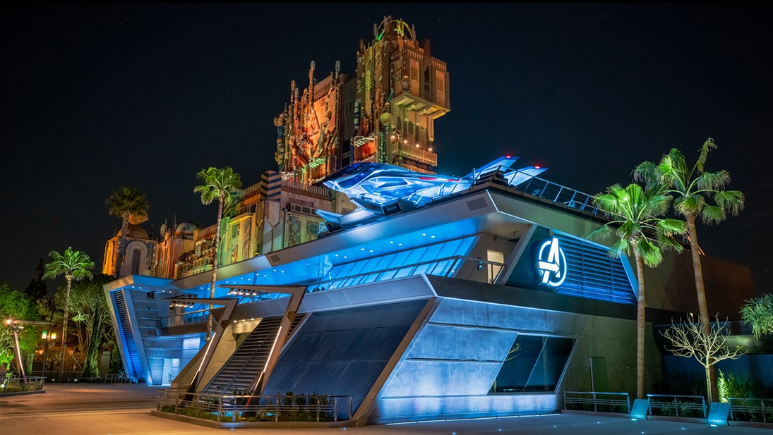 An image at night of Disneyland's Avengers Campus