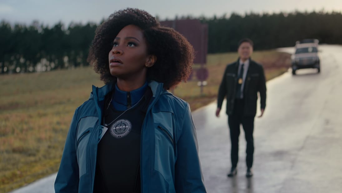 Teyonah Parris as Monica Rambeau and Randall Park as Jimmy Woo in WandaVision