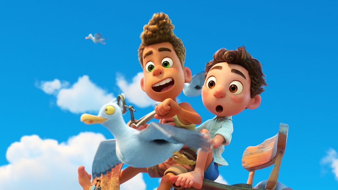 A still image from the Disney and Pixar's movie Luca