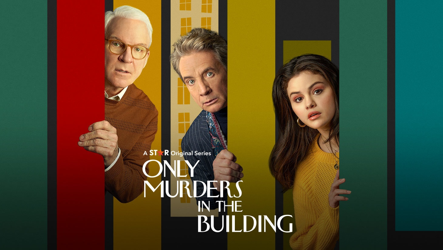 Steve Martin, Martin Short and Selena Gomez in the Only Murders in the Building artwork