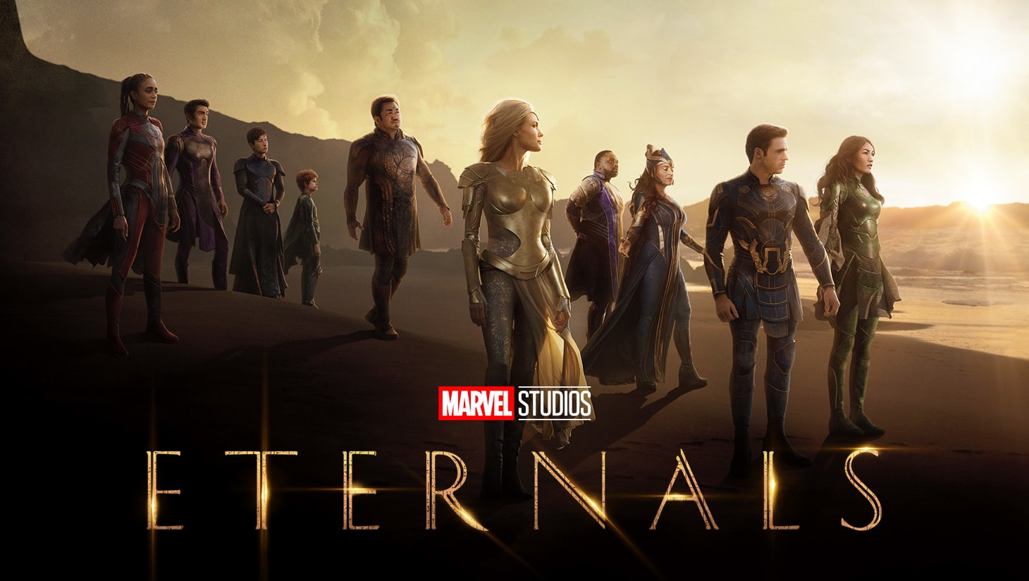 A group shot of the Super Heroes in Marvel Studios Eternals movie