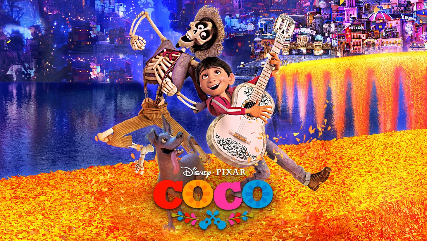 The animated characters of Hector, Dante and Miguel with a guitar singing from Disney and Pixar's Coco movie