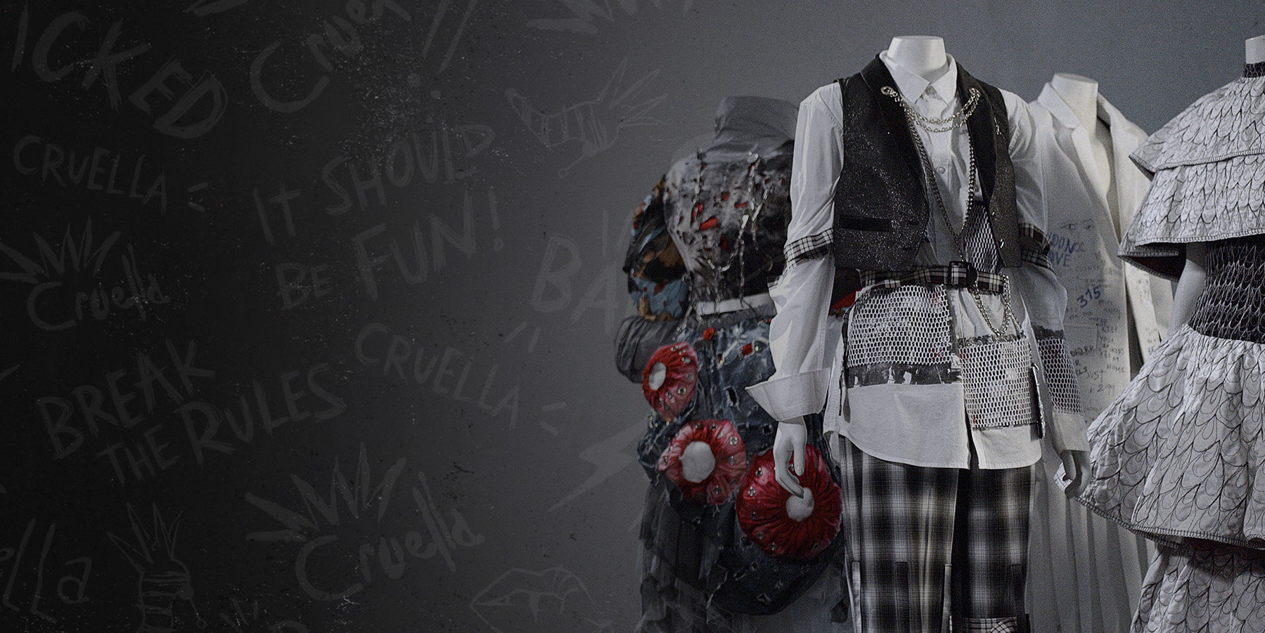 An outfit from the Disney's Cruella and RMIT fashion exhibition