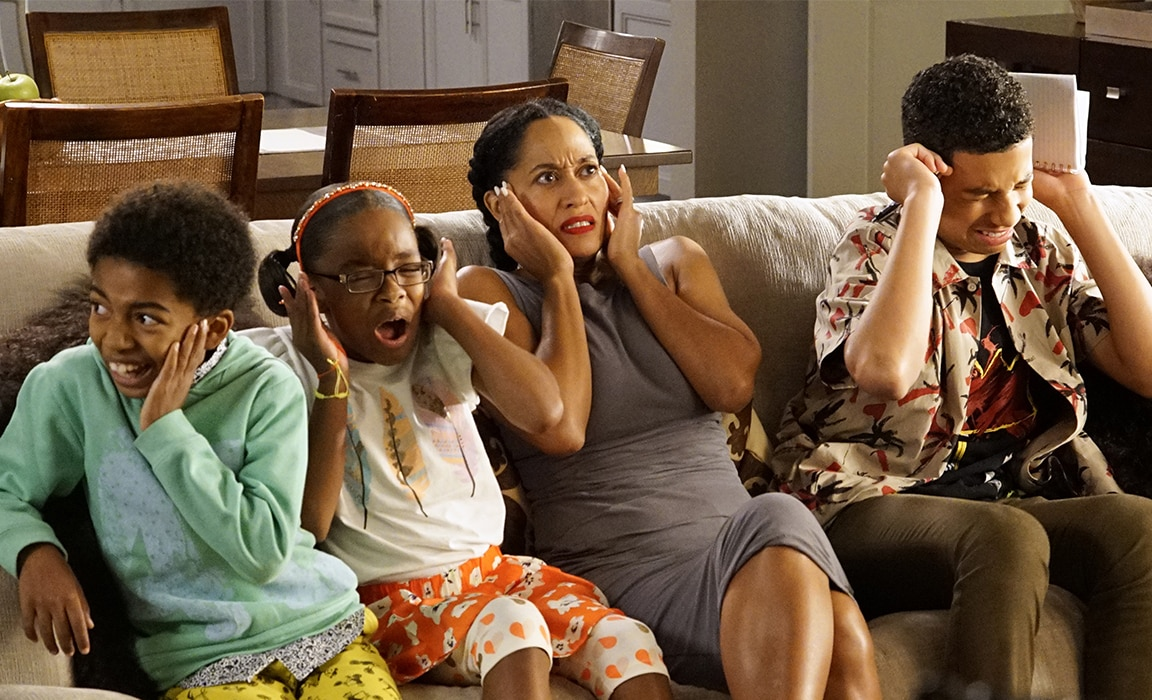 A still image of characters from Black-ish on Disney Plus