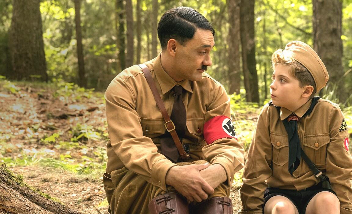 Taika Waititi and Roman Griffin Davis in Jojo Rabbit on Disney Plus