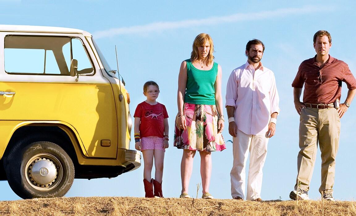 Abigail Breslin, Toni Collette, Steve Carell and Greg Kinnear in Little Miss Sunshine on Disney Plus