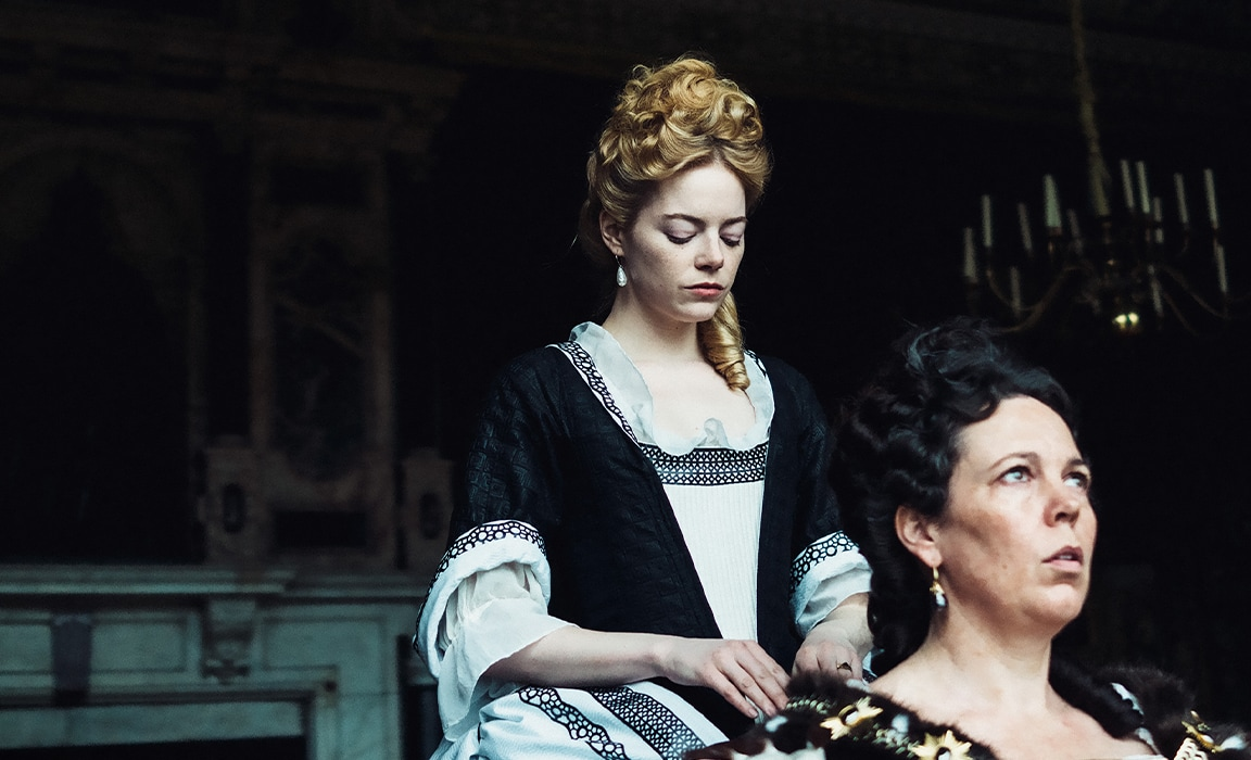 Emma Stone and Olivia Colman in The Favourite on Disney Plus