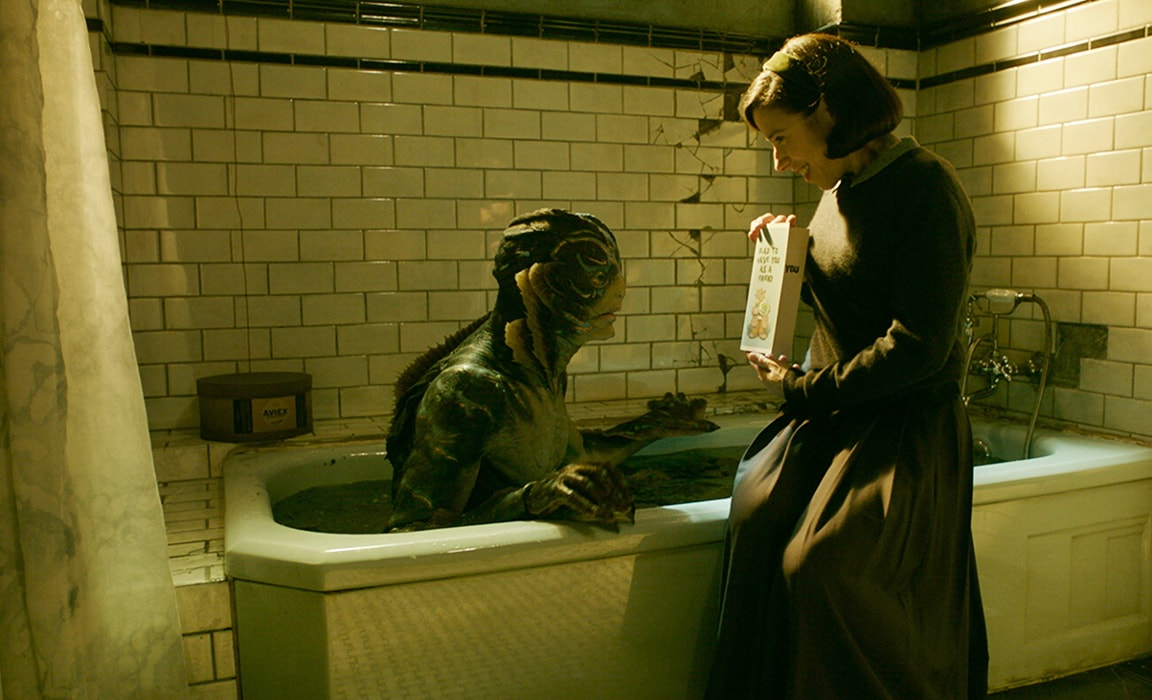 Doug Jones as The Asset and Sally Hawkins in The Shape of Water on Disney Plus