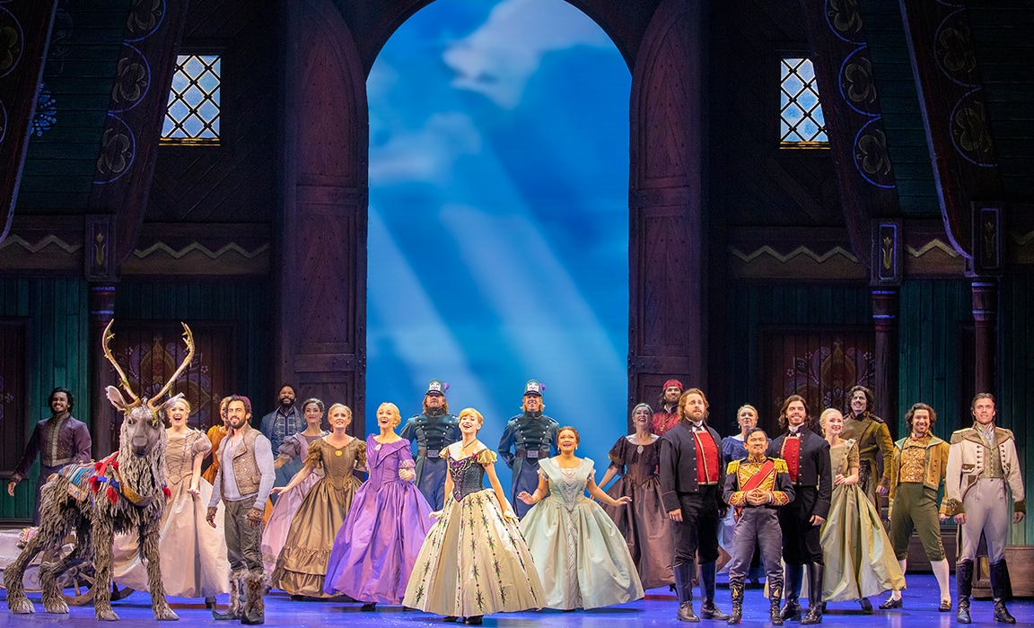 Photo of the many of the Australian cast of Frozen the Musical on stage
