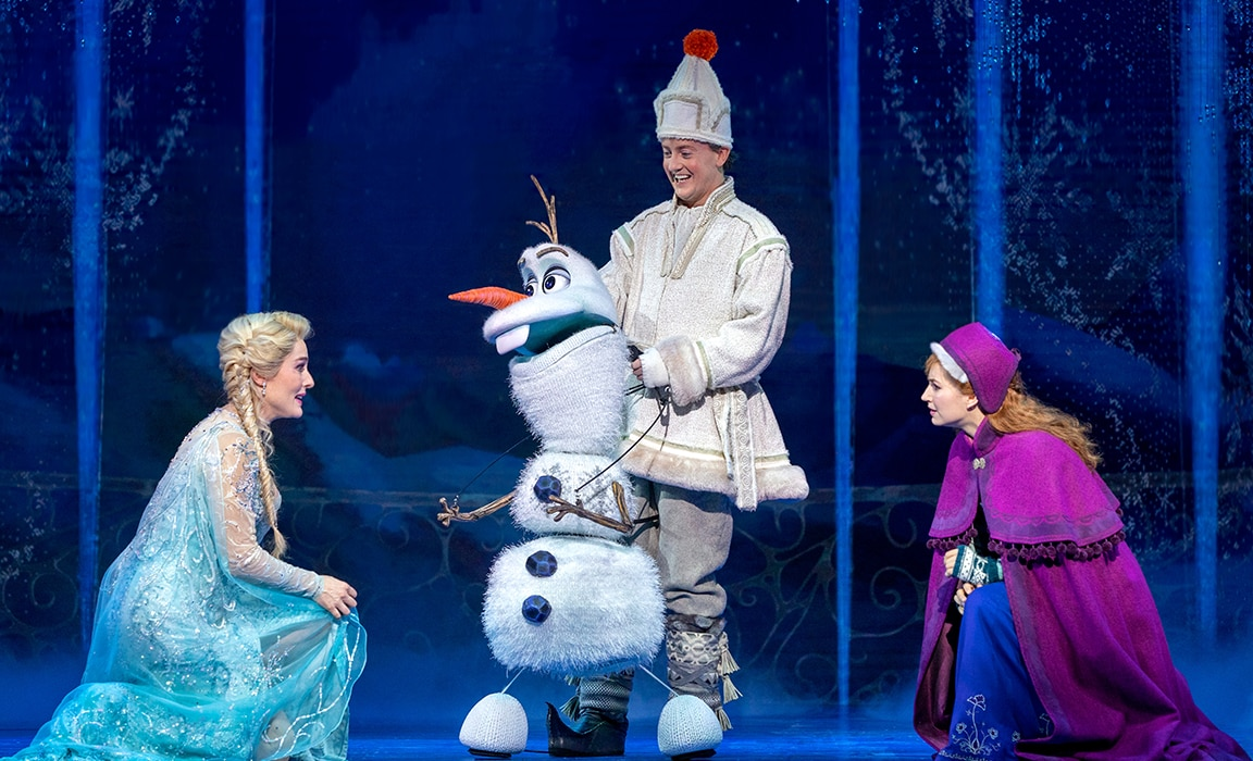 Jemma Rix as Elsa, Matt Lee as Olaf and Courtney Monsma as Anna in Frozen the Musical (Photo by Lisa Tomasetti).