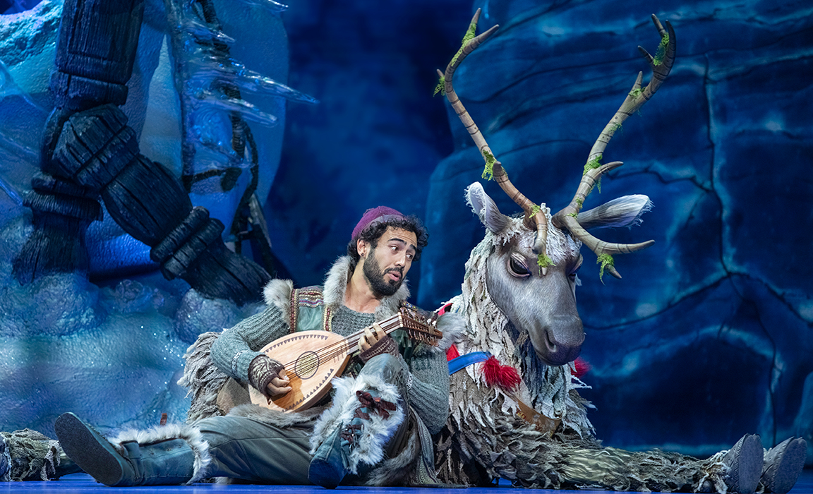 Sean Sinclair as Kristoff and Lochie McIntyre as Sven in Frozen the Musical (Photo by Lisa Tomasetti).