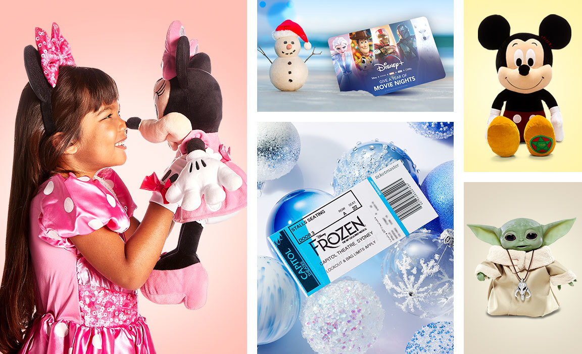 Compile image of products from Disney's Christmas gift guide for those who love to dream big.