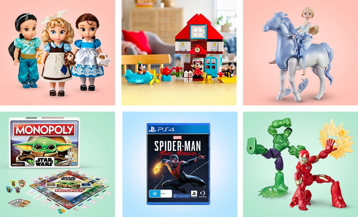 Compile of products from Disney's Christmas gift guide for those who love to play.