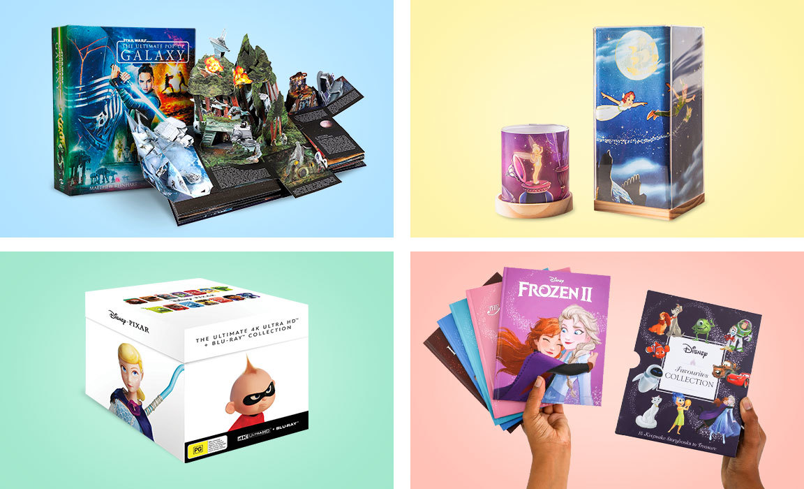 Compile of products from Disney's Christmas gift guide for those who love story time.