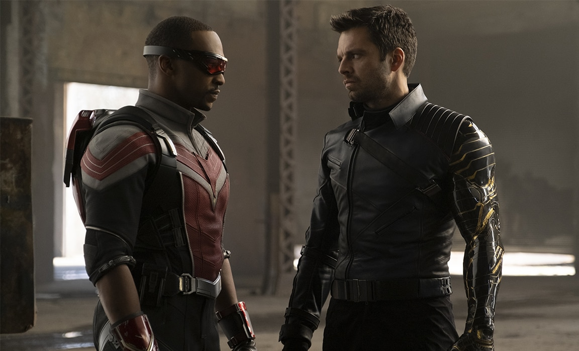 Sam Wilson and 'Bucky' Barnes from The Falcon and The Winter Soldier on Disney Plus